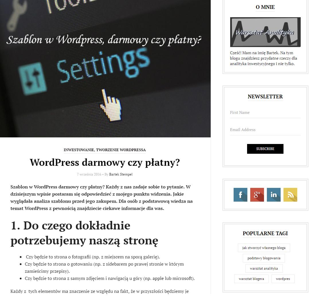 Wordpress główna strona bez opcji fragmentującej