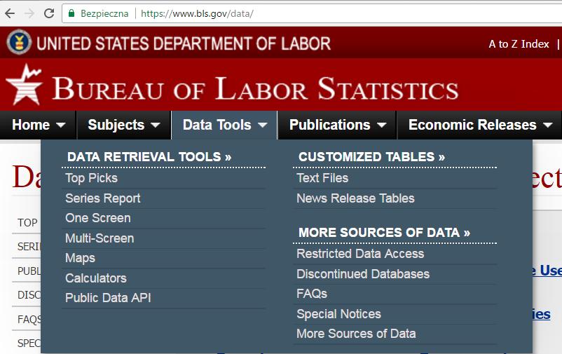 Ściągane danych o inflacji w USA: krok 1