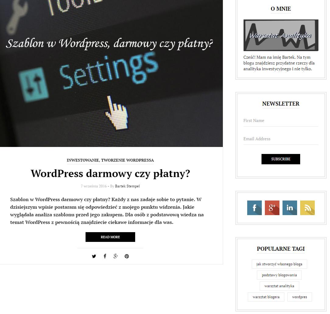 Wordpress główna strona z opcją fragmentująca